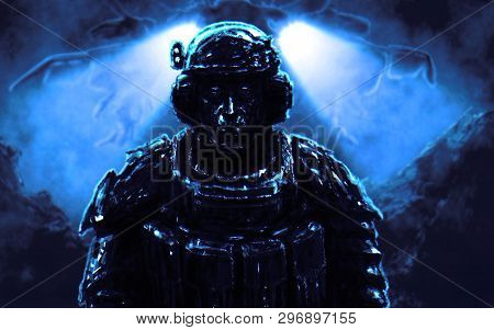 Soldier Stands Against Backdrop Of Spaceship Landing On Alien Planet. Illustration In Science Fictio