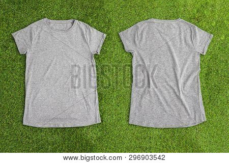 Front And Back Of Grey Melange Empty T-shirt On Grass Background. Horizontal View.