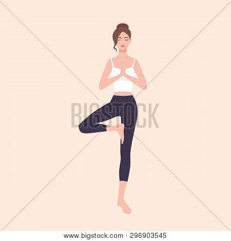 Gorgeous Woman Practicing Hatha Yoga And Zen Meditation. Pretty Female Cartoon Character Standing In