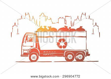 Garbage Truck, Lorry, Automobile With Litter Bags, Zero Waste, Ecology Preservation, Pollution Preve
