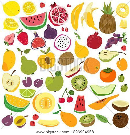 Fruits Set. Cute Fruit Lemon Watermelon Banana Cherry Pineapple Apple Pear Strawberry Fresh Colorful