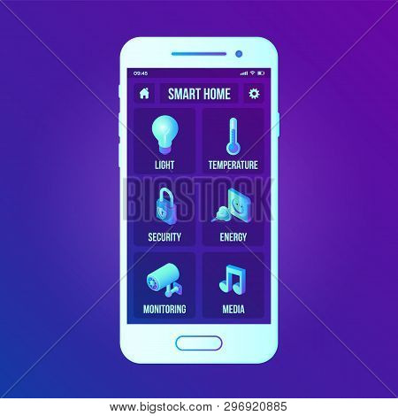 Smart Home Technology Interface On Smartphone App Screen. Remote Home Control System On Smartphone.