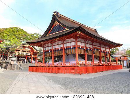 Pavilion and haiden in Fushimi Inari shrine in Kyoto, Japan