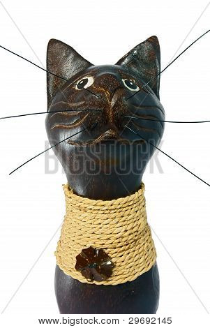 Brown Statuette Of The Cat Isolated