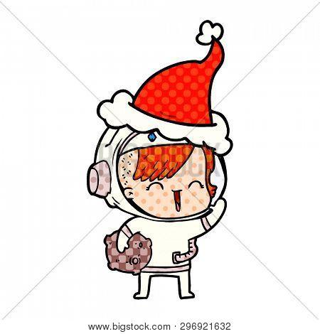 hand drawn comic book style illustration of a happy spacegirl holding moon rock wearing santa hat
