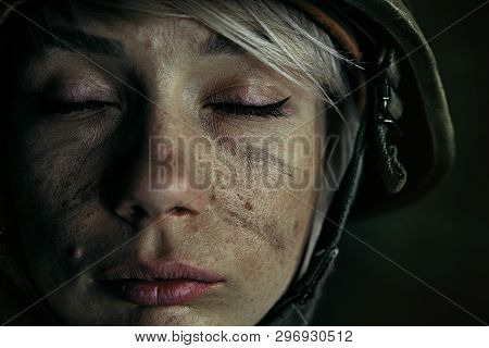 No Tears And No Fear Anymore. Close Up Portrait Of Young Female Soldier. Woman In Military Uniform O