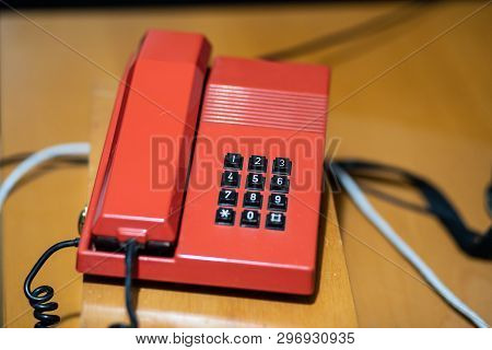 A Classic Red Telephone. Old Tone Telephone.