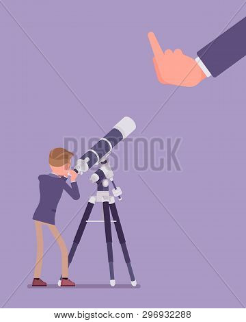 Businessman Seeing No Expectation Of Good Or Success. Male Manager Watching Telescope For Prediction