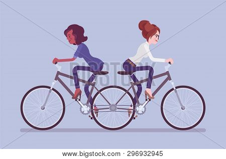 Businesswomen On Push Me Pull You Tandem Bicycle. Female Ambitious Managers In Disagreement, Unable