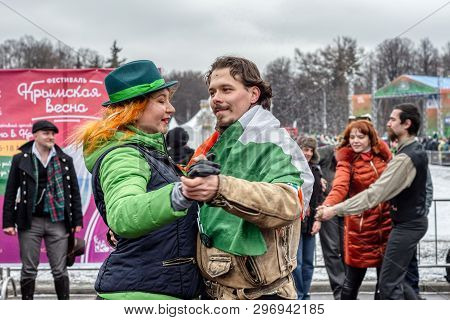 Russia, Moscow - March 16, 2019: Celebration Of St. Patricks Day In Moscow Park Sokolniki. People Da