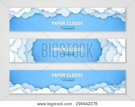 Clouds Papercut Banner Templates Set. 3d Cloudscape Background. White And Blue Cloudy Layered Backdr