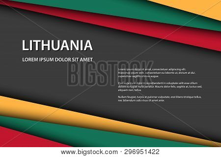 Modern Vector Background With Lithuanian Colors And Grey Free Space For Your Text, Overlayed Sheets
