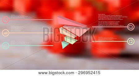 3d Illustration Infographic Template. The Embossed Triangle Is Randomly Divided To Five Color Shifte