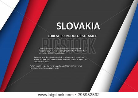 Modern Vector Background, Overlayed Sheets Of Paper In The Look Of The Slovak Flag, Made In Slovakia