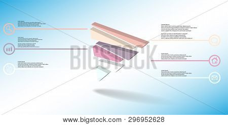 3D Illustration Infographic Template With Embossed Triangle Randomly Divided To Six Shifted Parts