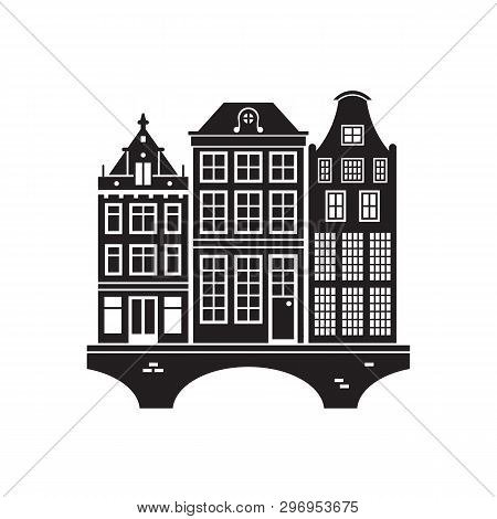 Travel Amsterdam Landmark Icon. Canal Dutch Houses Is One Of The Famous Architectural Symbols And To