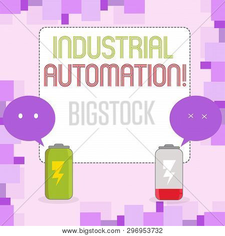 Conceptual Hand Writing Showing Industrial Automation. Business Photo Text Use Of Control Systems To