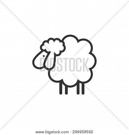 Sheep Icon. Animal Head. Silhouette Icon Sheep. Farm Sign. Graph Symbol For Your Web Site Design, Lo