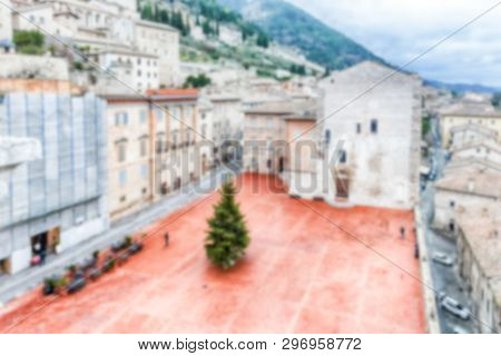 Defocused Background Of Piazza Grande, Scenic Main Square In Gubbio, Italy. Intentionally Blurred Fo
