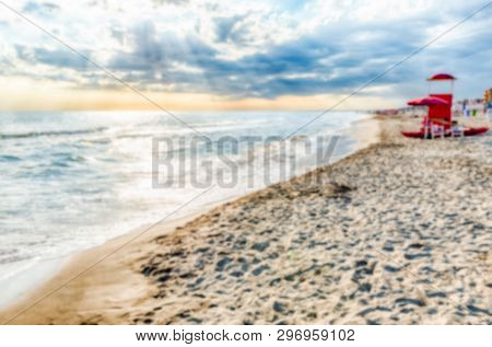 Defocused Background Of A Scenic Beach On The Thyrrenian Coastline In Central Italy. Intentionally B