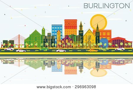 Burlington Iowa Skyline with Color Buildings, Blue Sky and Reflections. Business Travel and Tourism Illustration with Historic Architecture.