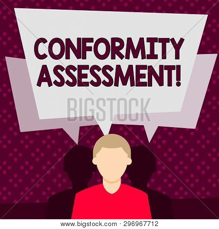 poster of Word writing text Conformity Assessment. Business concept for Evaluation verification and assurance of conforanalysisce Faceless Man has Two Shadows Each has Their Own Speech Bubble Overlapping.