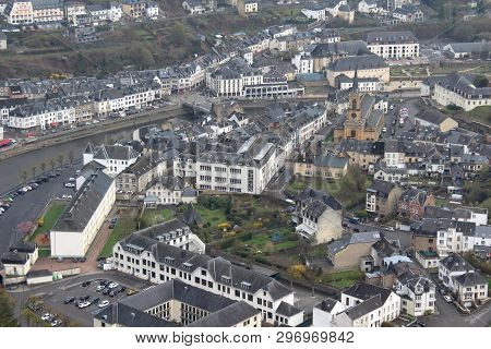 Bouillon, Belgium, 7 April 2019:  Aerial View Of The Town Of Bouillon In The Province Of Luxembourg,