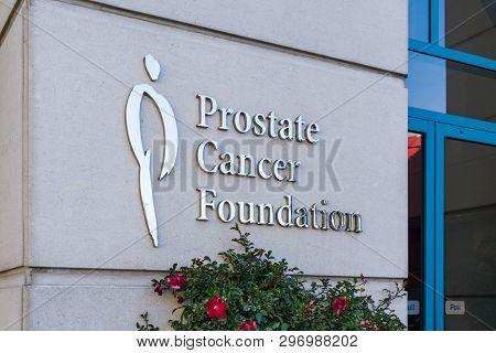 Santa Monica, Ca/usa - April 18, 2019: Prostate Cancer Foundation Exterior And Trademark Logo.