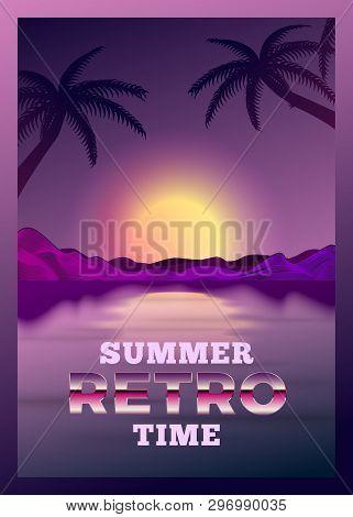 Vector Poster Design Template In 80s Retro Futurism Style, With Futuristic Computerized Sun Over The