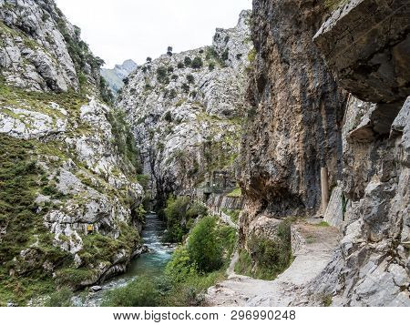 The Cares Trail, Garganta Del Cares, In The Picos De Europa Mountains, Spain In Europe