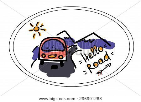 Camper, Road And Mountains. Stylized Illustration In The Style Of Doodle. Logo Vector, Shirt Pattern