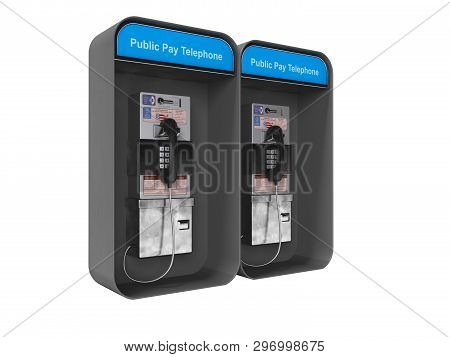 Dual Phone Booth Black Left View 3d Render On White Background No Shadow