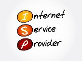 ISP - Internet Service Provider, acronym technology concept background poster