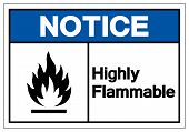 Notice Highly Flammable Symbol Sign, Vector Illustration, Isolate On White Background Label .EPS10 poster
