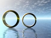 Wedding rings in ocean. Illustration 3 d poster