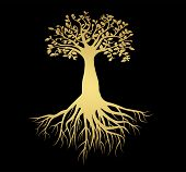 Flat icon neon design tree of life symbol. Sketch of tattoo tree of life -  golden gradient poster
