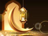 Ramadan mubarak or kareem background for greeting card. Eid al-Fitr fasting or ramazan, Eid al-adha or festival of sacrifice holiday. Holy muslim month. Islamic celebration sign. Aram and religion theme poster