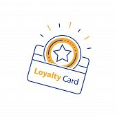 Loyalty card, incentive gift, collecting bonus, earn reward, shopping perks, discount coupon, vector mono line icon, linear illustration, outline design poster