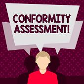 Word writing text Conformity Assessment. Business concept for Evaluation verification and assurance of conforanalysisce Faceless Man has Two Shadows Each has Their Own Speech Bubble Overlapping. poster