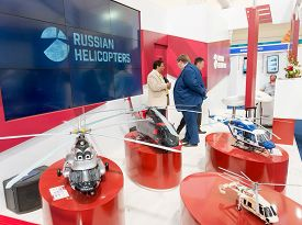 Bengaluru, India - February 22, 2019: Visitors At The Russian Helicopter Stall At The Aero India 201