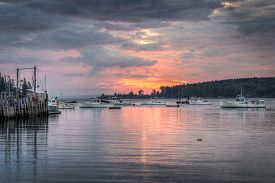 Lobster Boats Anchored At Sunrise - Maine, Usa