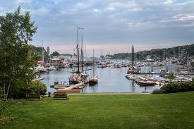 Boats Anchored In Camden Harbor - Camden, Maine, Usa
