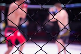 Sports Concept Of Fighting Without Rules.two Boxer Athletes In The Arena Of The Octagonal Scene.mood