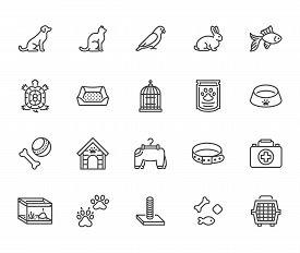 Pet Shop Flat Line Icons Set. Dog Carrier, Cat Scratcher, Bird Cage, Rabbit, Fish Aquarium, Pets Paw