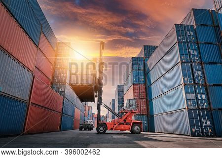 Container Ship Loading Of Import/export Freight Transportation Industry, Transport Crane Forklift Is