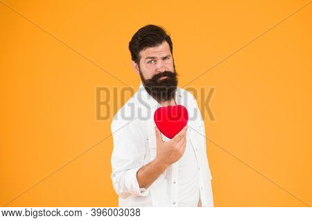 Diy Craft. Being Human Organ Donor. Bearded Man Red Heart. Brutal Hipster Care Of His Heart. Let Me