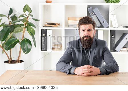 Ready To Hear Your Opinion. Report And Complaint Concept. Man Bearded Hipster Boss Looking At You Wi