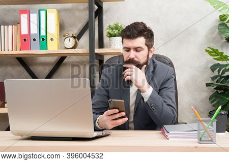 Call Partner. Man Bearded Boss Manager Sit Office With Laptop. Manager Solving Business Problems. Bu