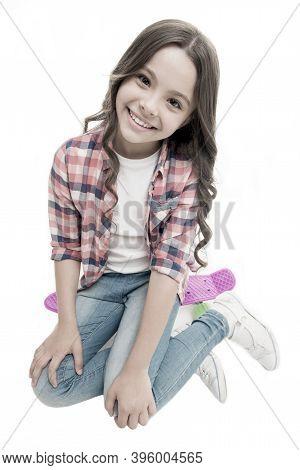 Happy Ride. Kid Girl Happy Sits Penny Board. Originally Designed As Girls Skateboard. Modern Teen Ho