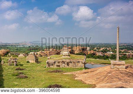 Hampi, Karnataka, India - November 4, 2013: Sunset Hill Aka Hemakatu. Down Hill  Temple Ruins And Pi